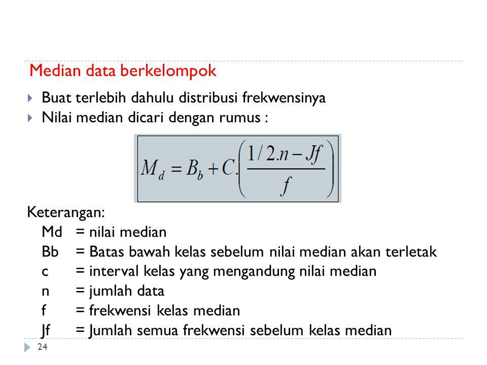 24 Median data berkelompok  Buat terlebih dahulu distribusi frekwensinya  Nilai median dicari dengan rumus : Keterangan: Md= nilai median Bb= Batas