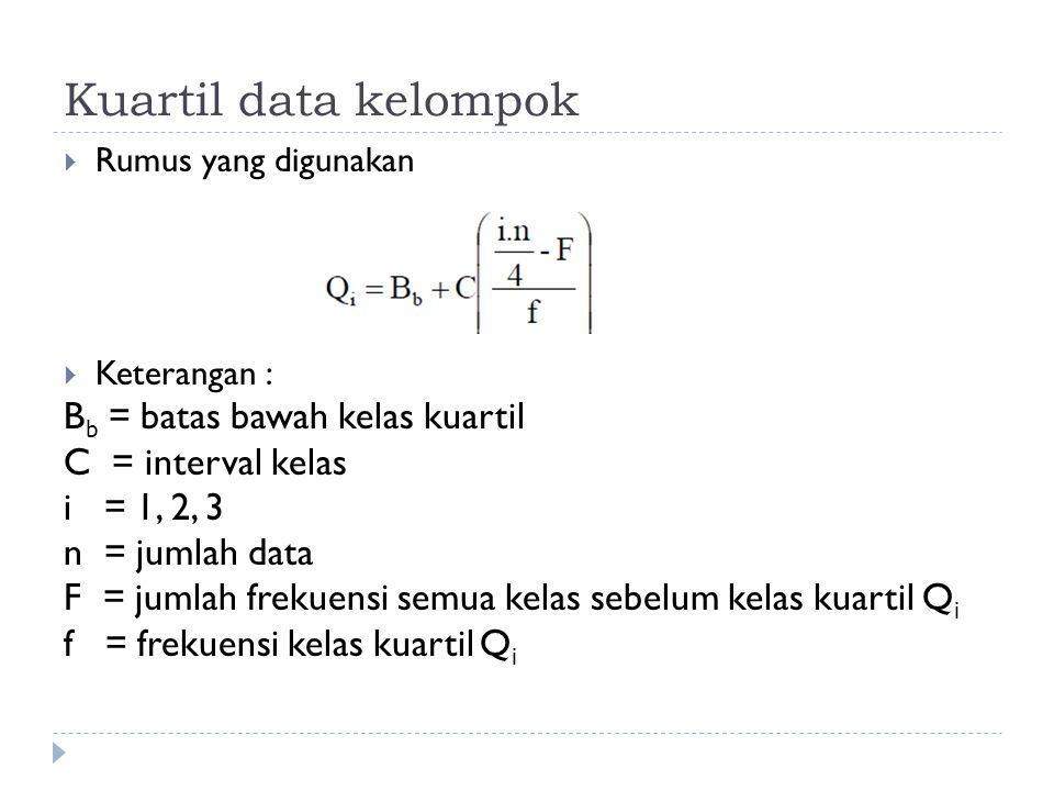 Kuartil data kelompok  Rumus yang digunakan  Keterangan : B b = batas bawah kelas kuartil C = interval kelas i = 1, 2, 3 n = jumlah data F = jumlah