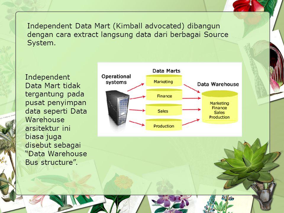 Independent Data Mart (Kimball advocated) dibangun dengan cara extract langsung data dari berbagai Source System. Independent Data Mart tidak tergantu