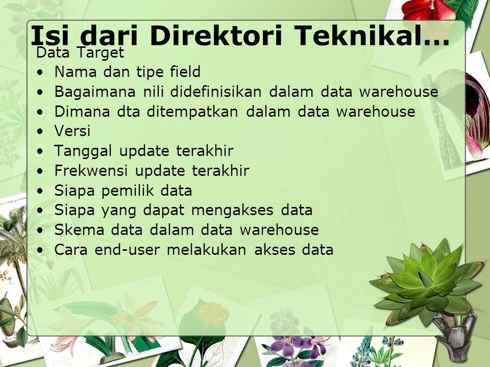 Isi dari Direktori Teknikal… Data Target Nama dan tipe field Bagaimana nili didefinisikan dalam data warehouse Dimana dta ditempatkan dalam data wareh