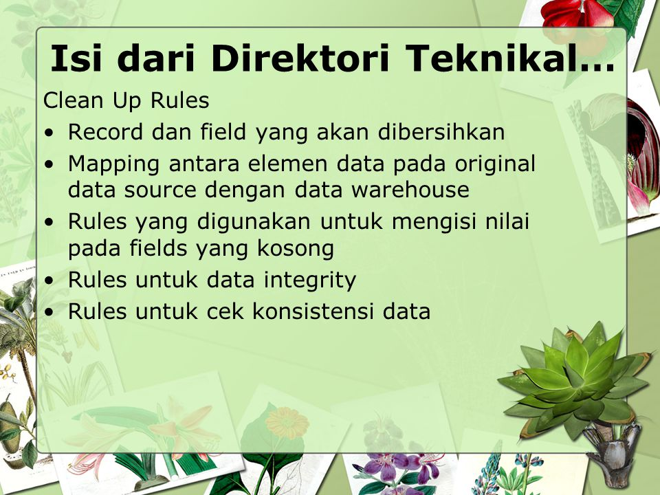 Isi dari Direktori Teknikal… Clean Up Rules Record dan field yang akan dibersihkan Mapping antara elemen data pada original data source dengan data wa