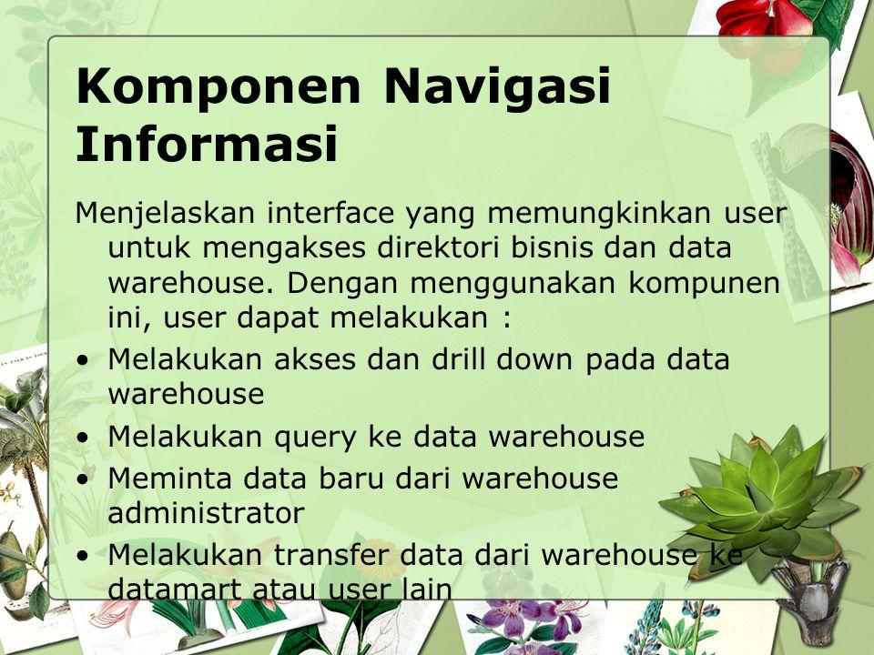 Komponen Navigasi Informasi Menjelaskan interface yang memungkinkan user untuk mengakses direktori bisnis dan data warehouse. Dengan menggunakan kompu