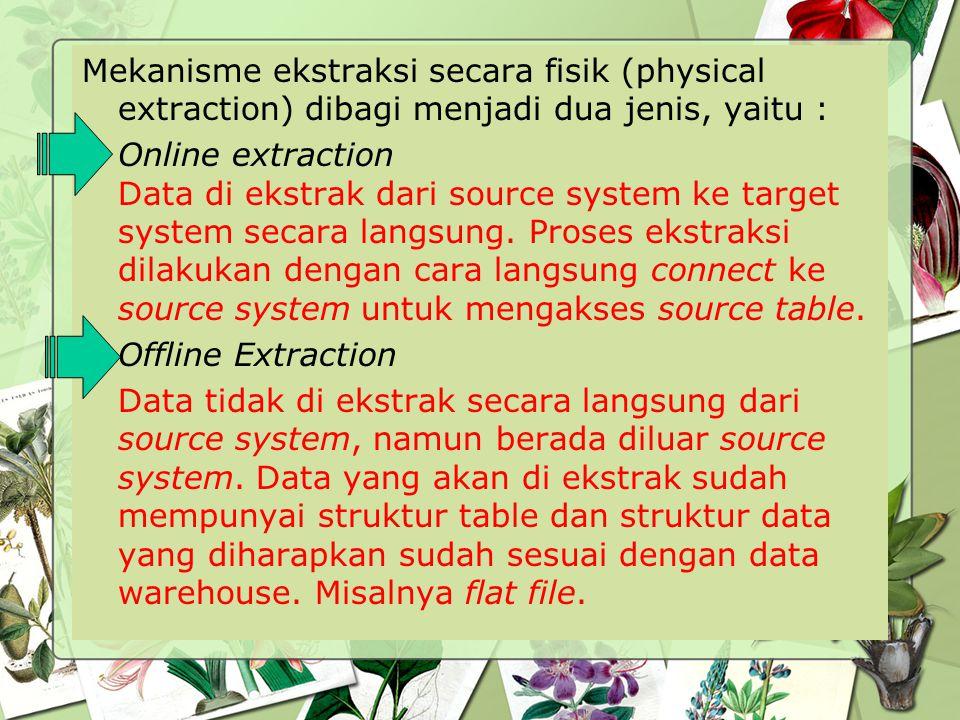 Mekanisme ekstraksi secara fisik (physical extraction) dibagi menjadi dua jenis, yaitu : Online extraction Data di ekstrak dari source system ke targe