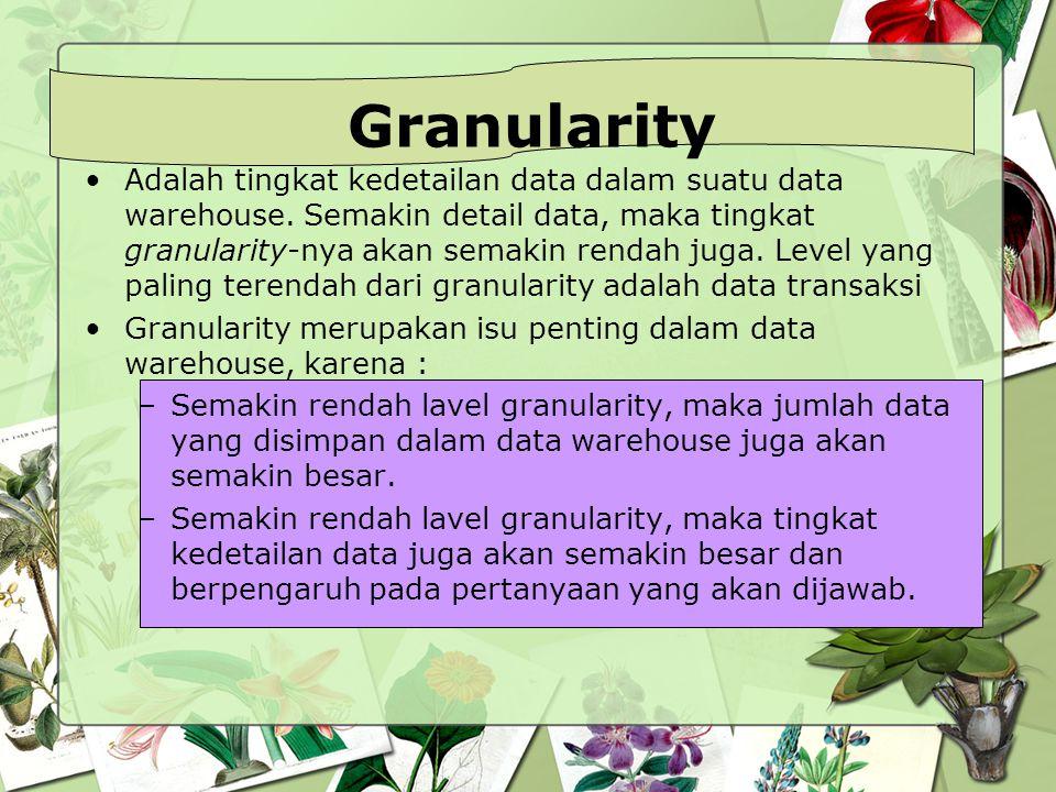 Granularity Adalah tingkat kedetailan data dalam suatu data warehouse. Semakin detail data, maka tingkat granularity-nya akan semakin rendah juga. Lev