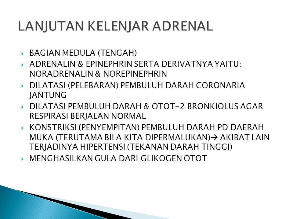  BAGIAN MEDULA (TENGAH)  ADRENALIN & EPINEPHRIN SERTA DERIVATNYA YAITU: NORADRENALIN & NOREPINEPHRIN  DILATASI (PELEBARAN) PEMBULUH DARAH CORONARIA