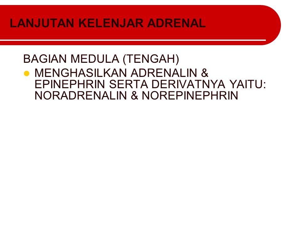 LANJUTAN KELENJAR ADRENAL BAGIAN MEDULA (TENGAH) MENGHASILKAN ADRENALIN & EPINEPHRIN SERTA DERIVATNYA YAITU: NORADRENALIN & NOREPINEPHRIN