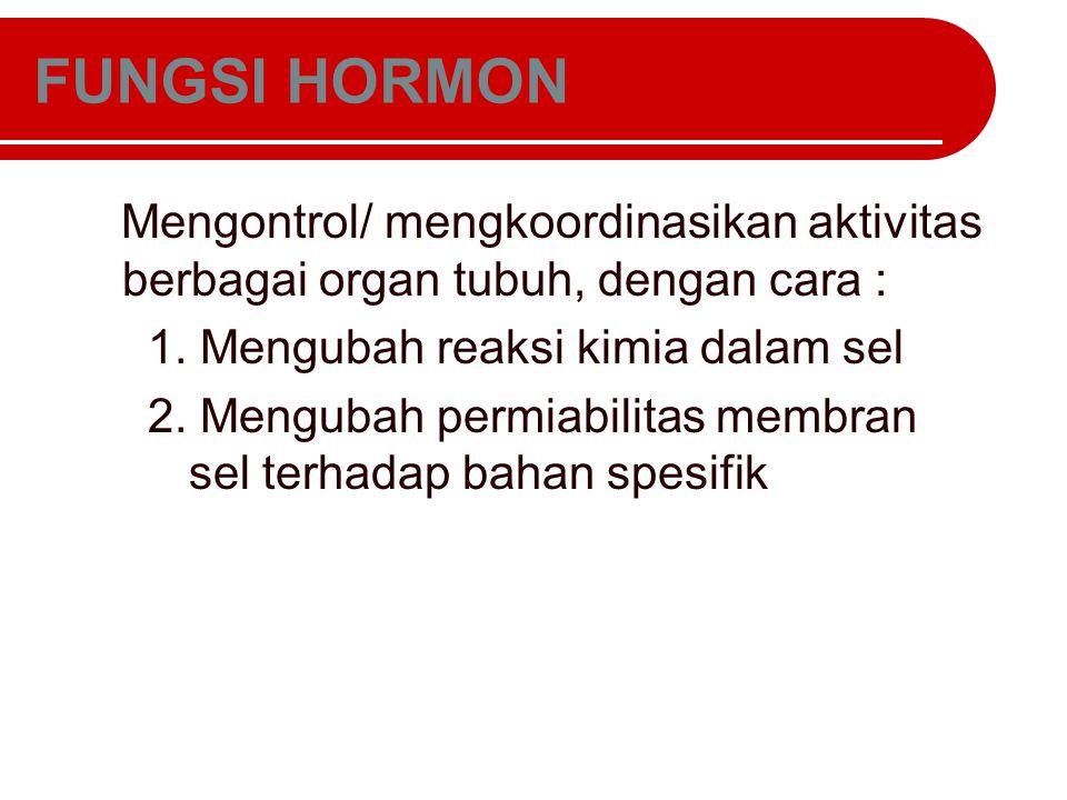 FUNGSI HORMON Mengontrol/ mengkoordinasikan aktivitas berbagai organ tubuh, dengan cara : 1. Mengubah reaksi kimia dalam sel 2. Mengubah permiabilitas