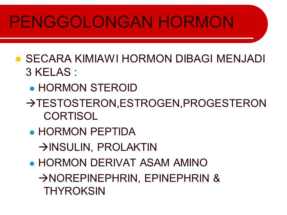 PENGGOLONGAN HORMON SECARA KIMIAWI HORMON DIBAGI MENJADI 3 KELAS : HORMON STEROID  TESTOSTERON,ESTROGEN,PROGESTERON CORTISOL HORMON PEPTIDA  INSULIN