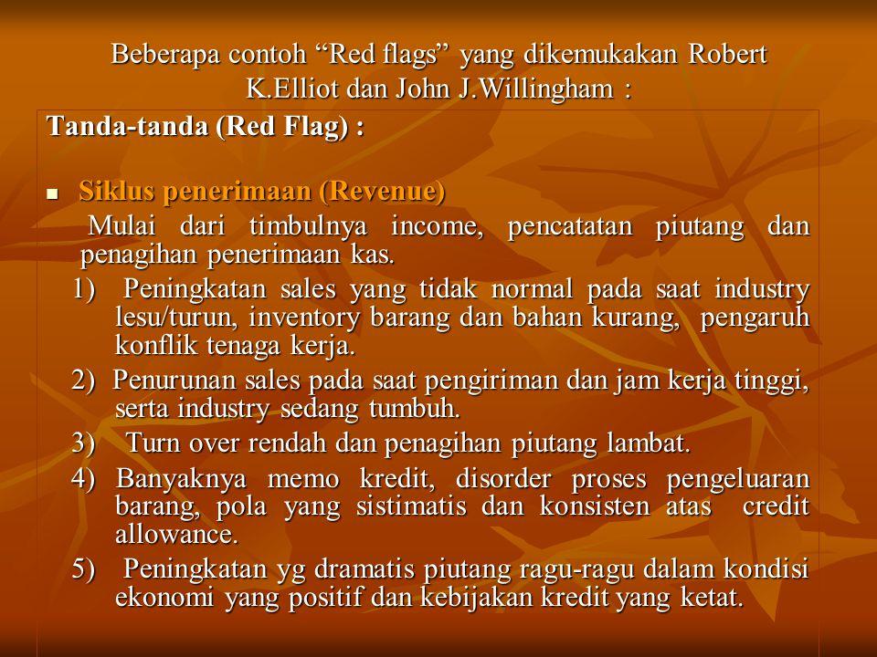 """Beberapa contoh """"Red flags"""" yang dikemukakan Robert K.Elliot dan John J.Willingham : Tanda-tanda (Red Flag) : Siklus penerimaan (Revenue) Siklus pener"""
