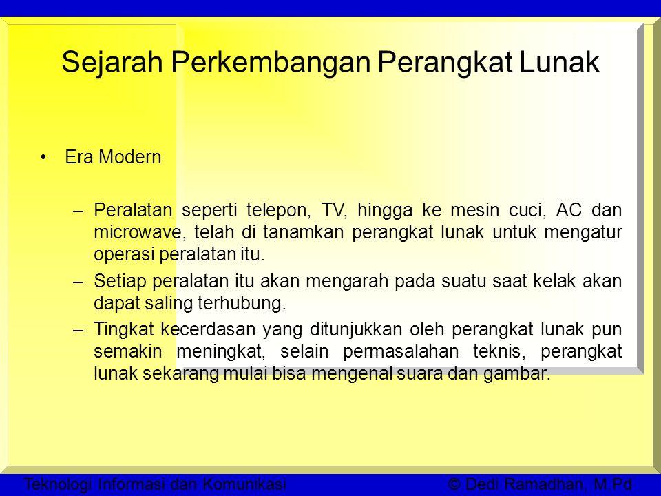 Teknologi Informasi dan Komunikasi © Dedi Ramadhan, M.Pd Sejarah Perkembangan Perangkat Lunak Era Modern –Peralatan seperti telepon, TV, hingga ke mesin cuci, AC dan microwave, telah di tanamkan perangkat lunak untuk mengatur operasi peralatan itu.