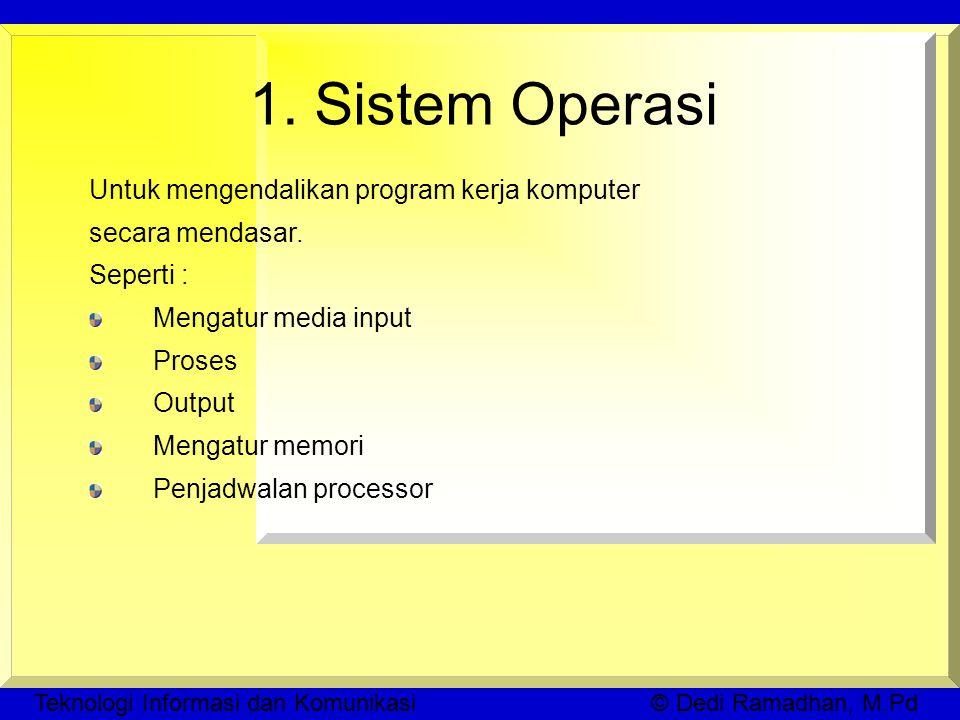 Teknologi Informasi dan Komunikasi © Dedi Ramadhan, M.Pd 1.