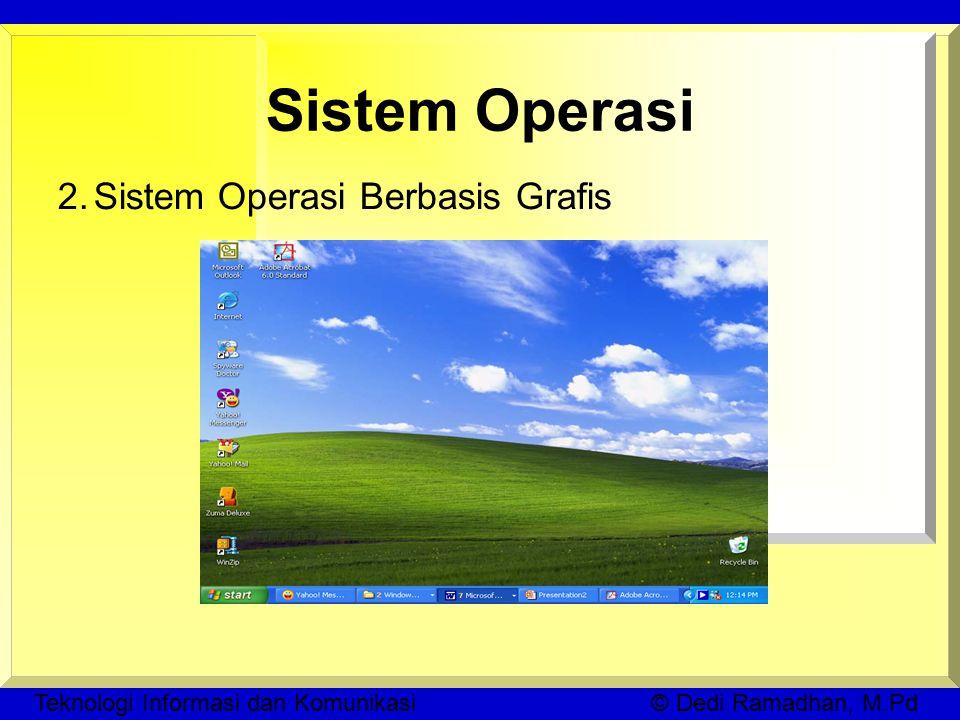 Teknologi Informasi dan Komunikasi © Dedi Ramadhan, M.Pd Sistem Operasi 2.Sistem Operasi Berbasis Grafis