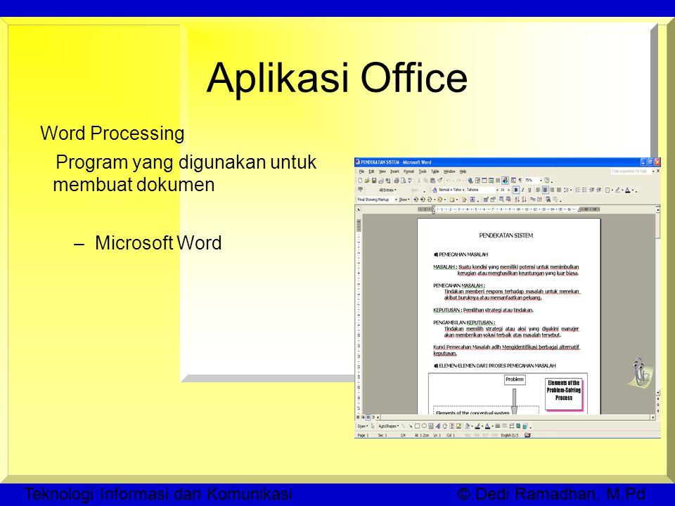 Teknologi Informasi dan Komunikasi © Dedi Ramadhan, M.Pd Aplikasi Office Word Processing Program yang digunakan untuk membuat dokumen –Microsoft Word