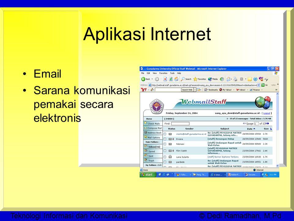 Teknologi Informasi dan Komunikasi © Dedi Ramadhan, M.Pd Aplikasi Internet Email Sarana komunikasi pemakai secara elektronis