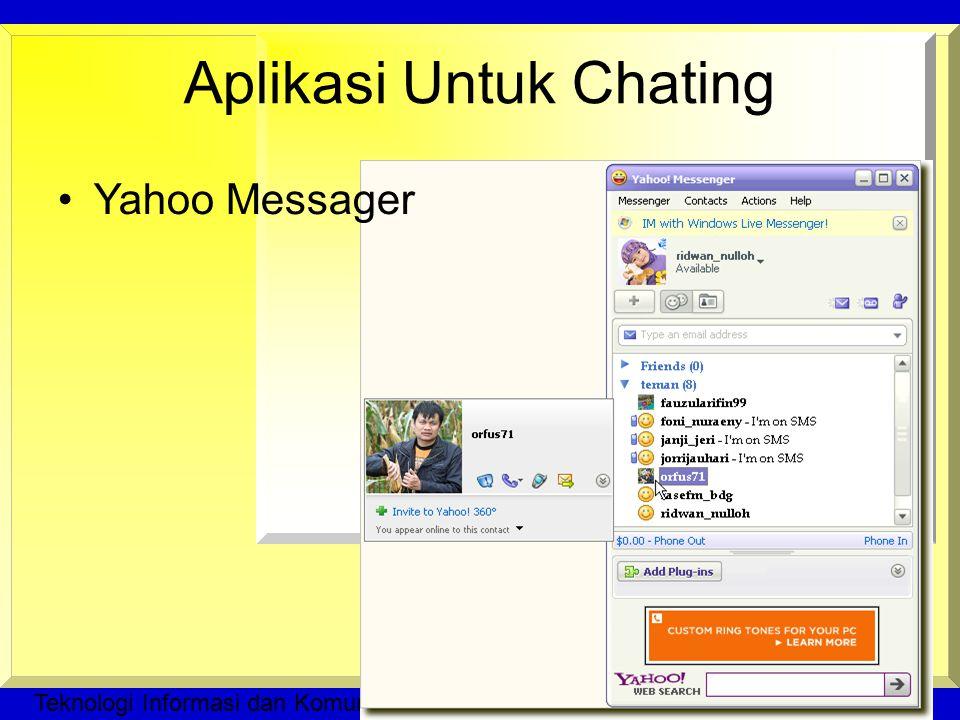 Teknologi Informasi dan Komunikasi © Dedi Ramadhan, M.Pd Aplikasi Untuk Chating Yahoo Messager