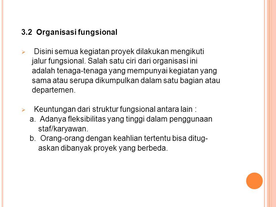 3.2 Organisasi fungsional  Disini semua kegiatan proyek dilakukan mengikuti jalur fungsional.