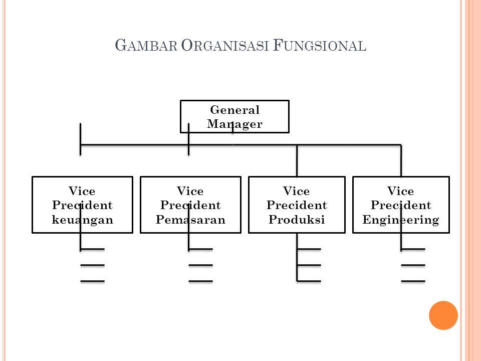 G AMBAR O RGANISASI F UNGSIONAL General Manager Vice Precident keuangan Vice Precident Pemasaran Vice Precident Produksi Vice Precident Engineering