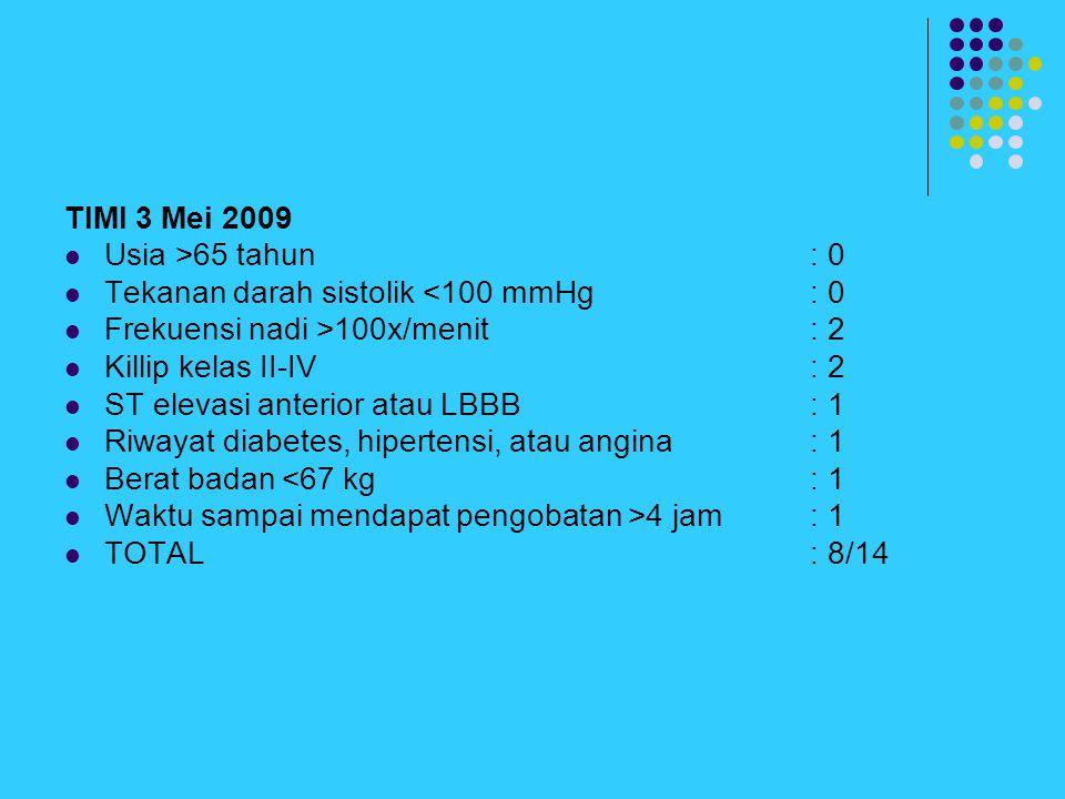 TIMI 3 Mei 2009 Usia >65 tahun: 0 Tekanan darah sistolik <100 mmHg: 0 Frekuensi nadi >100x/menit: 2 Killip kelas II-IV: 2 ST elevasi anterior atau LBB