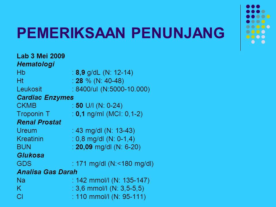 PEMERIKSAAN PENUNJANG Lab 3 Mei 2009 Hematologi Hb : 8,9 g/dL (N: 12-14) Ht: 28 % (N: 40-48) Leukosit: 8400/ul (N:5000-10.000) Cardiac Enzymes CKMB :