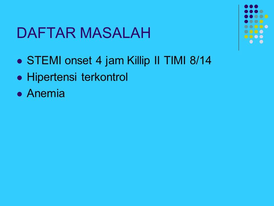 DAFTAR MASALAH STEMI onset 4 jam Killip II TIMI 8/14 Hipertensi terkontrol Anemia