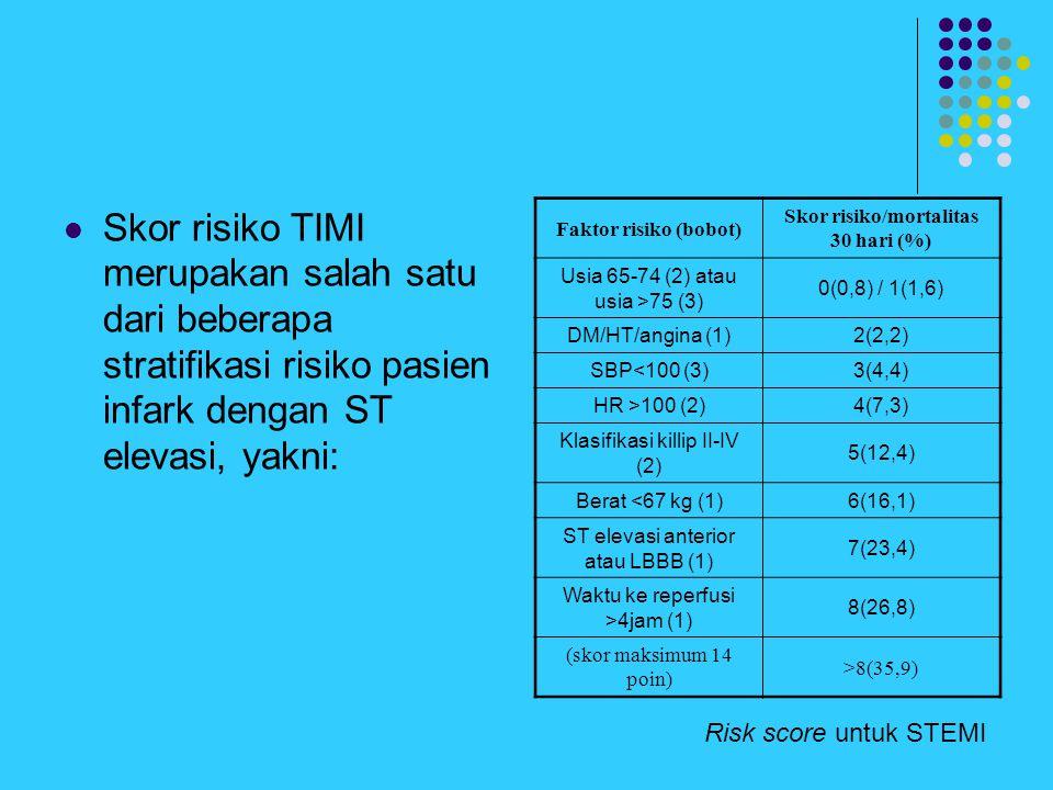 Skor risiko TIMI merupakan salah satu dari beberapa stratifikasi risiko pasien infark dengan ST elevasi, yakni: Risk score untuk STEMI Faktor risiko (