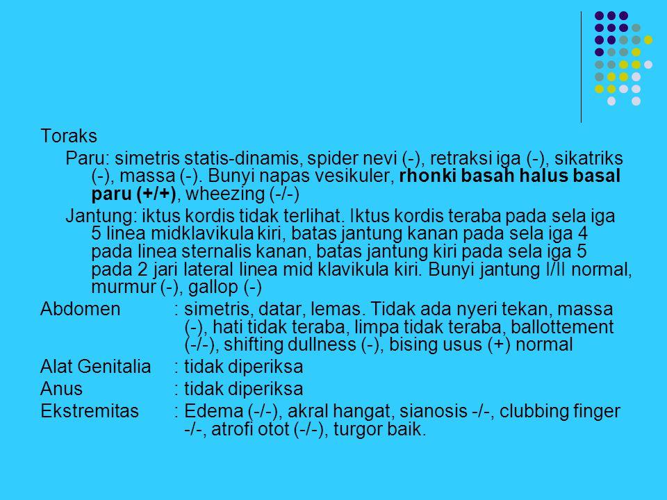 Toraks Paru: simetris statis-dinamis, spider nevi (-), retraksi iga (-), sikatriks (-), massa (-). Bunyi napas vesikuler, rhonki basah halus basal par