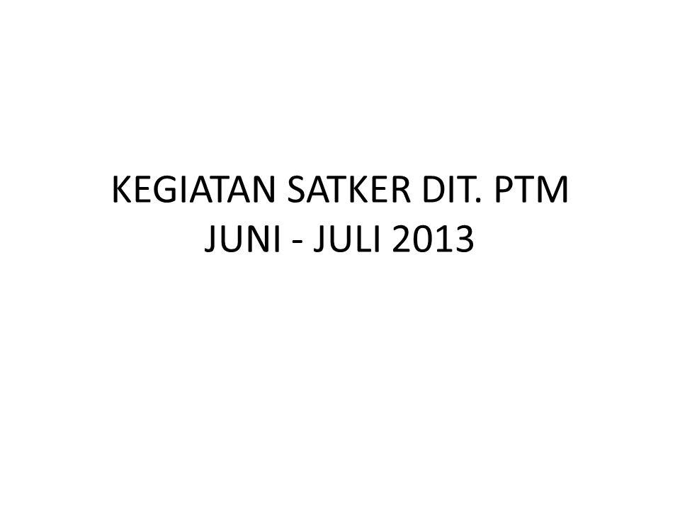 KEGIATAN SATKER DIT. PTM JUNI - JULI 2013