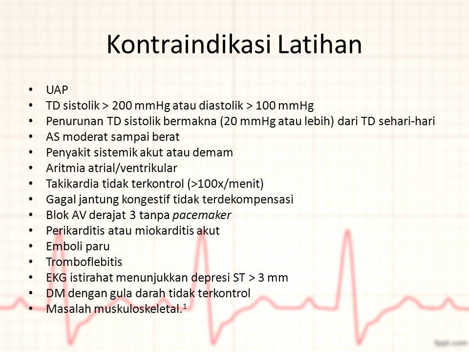 Kontraindikasi Latihan UAP TD sistolik > 200 mmHg atau diastolik > 100 mmHg Penurunan TD sistolik bermakna (20 mmHg atau lebih) dari TD sehari-hari AS