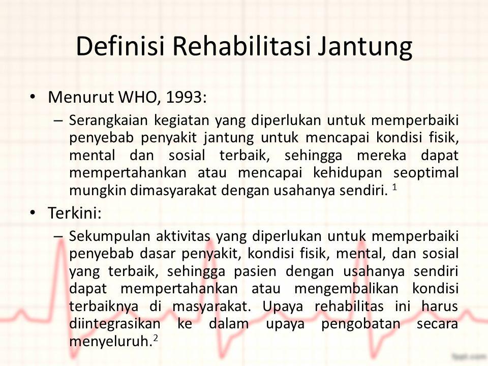 Definisi Rehabilitasi Jantung Menurut WHO, 1993: – Serangkaian kegiatan yang diperlukan untuk memperbaiki penyebab penyakit jantung untuk mencapai kon