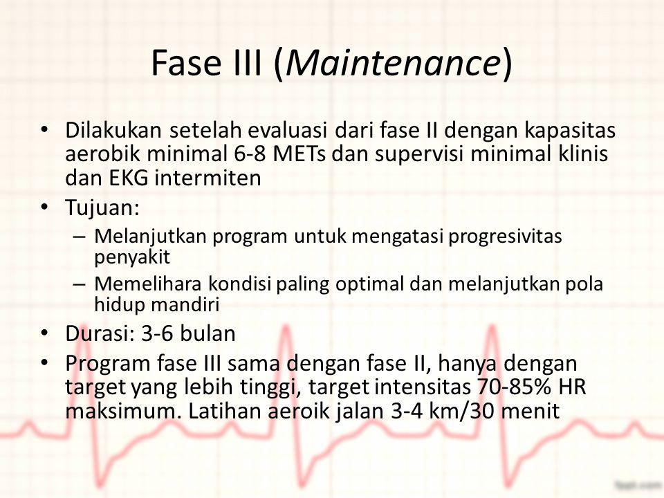 Fase III (Maintenance) Dilakukan setelah evaluasi dari fase II dengan kapasitas aerobik minimal 6-8 METs dan supervisi minimal klinis dan EKG intermit