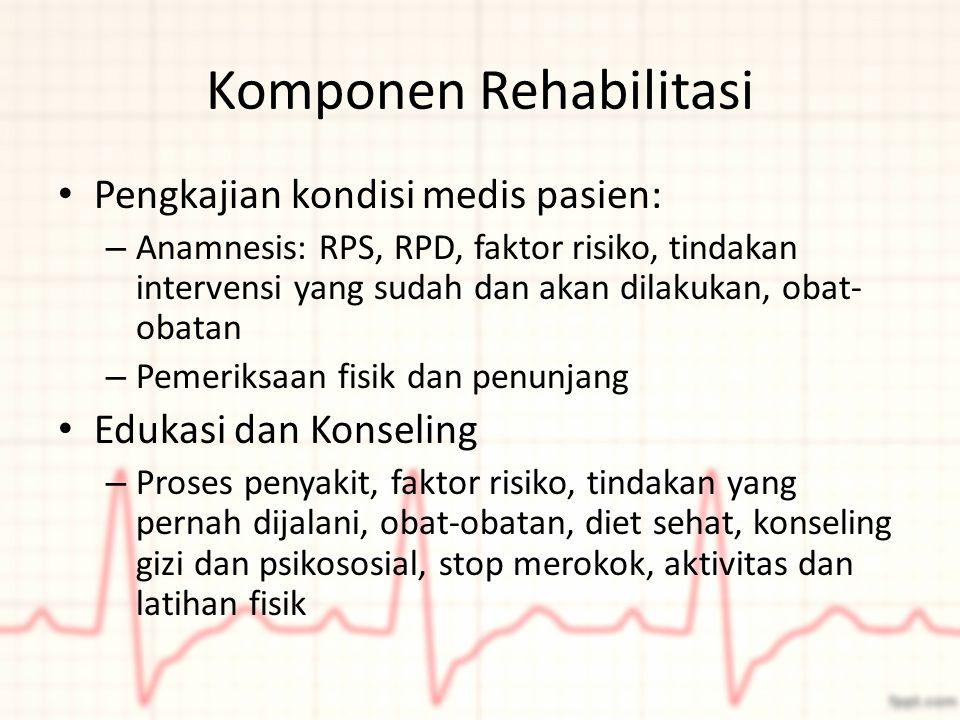 Komponen Rehabilitasi Pengkajian kondisi medis pasien: – Anamnesis: RPS, RPD, faktor risiko, tindakan intervensi yang sudah dan akan dilakukan, obat-