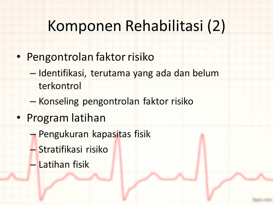 Komponen Rehabilitasi (2) Pengontrolan faktor risiko – Identifikasi, terutama yang ada dan belum terkontrol – Konseling pengontrolan faktor risiko Pro
