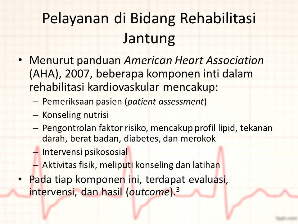 Pelayanan di Bidang Rehabilitasi Jantung Menurut panduan American Heart Association (AHA), 2007, beberapa komponen inti dalam rehabilitasi kardiovasku