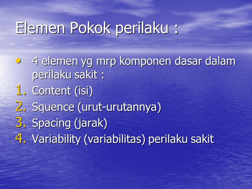 Elemen Pokok perilaku : 4 elemen yg mrp komponen dasar dalam perilaku sakit : 4 elemen yg mrp komponen dasar dalam perilaku sakit : 1. Content (isi) 2