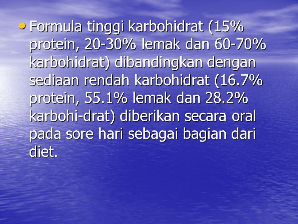 Formula tinggi karbohidrat (15% protein, 20-30% lemak dan 60-70% karbohidrat) dibandingkan dengan sediaan rendah karbohidrat (16.7% protein, 55.1% lem