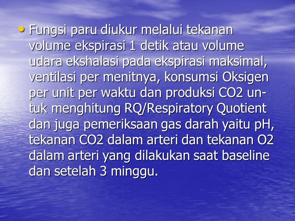 Fungsi paru diukur melalui tekanan volume ekspirasi 1 detik atau volume udara ekshalasi pada ekspirasi maksimal, ventilasi per menitnya, konsumsi Oksi