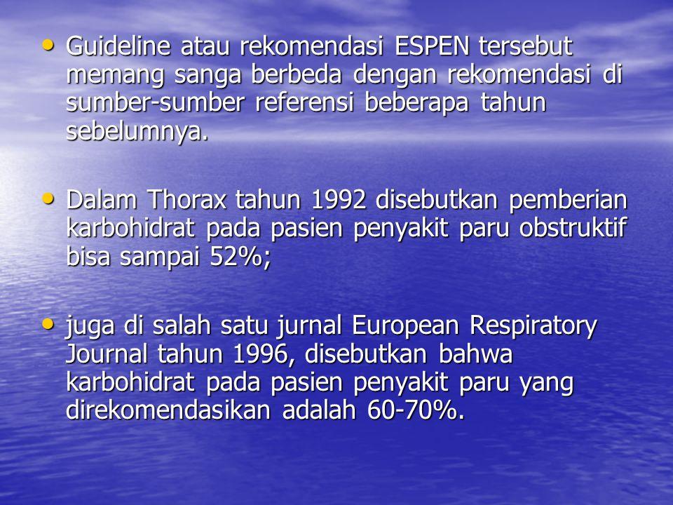 Guideline atau rekomendasi ESPEN tersebut memang sanga berbeda dengan rekomendasi di sumber-sumber referensi beberapa tahun sebelumnya. Guideline atau