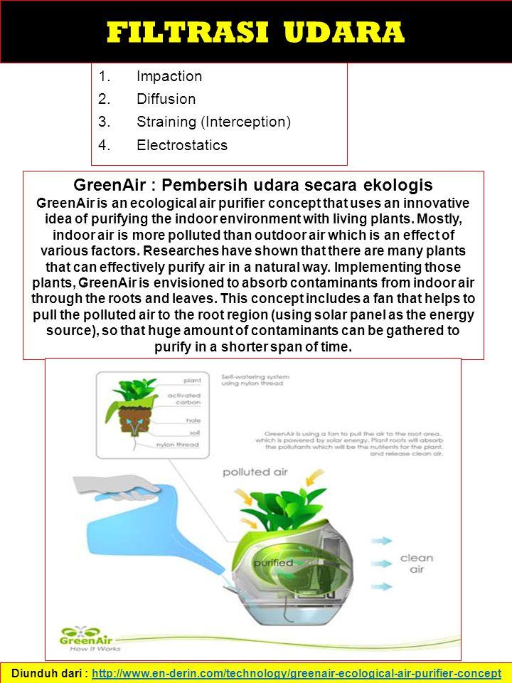 1.Impaction 2.Diffusion 3.Straining (Interception) 4.Electrostatics Diunduh dari : http://www.en-derin.com/technology/greenair-ecological-air-purifier-concepthttp://www.en-derin.com/technology/greenair-ecological-air-purifier-concept GreenAir : Pembersih udara secara ekologis GreenAir is an ecological air purifier concept that uses an innovative idea of purifying the indoor environment with living plants.