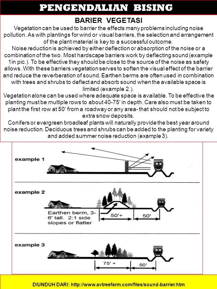 PENGENDALIAN BISING DIUNDUH DARI: http://www.avtreefarm.com/files/sound-barrier.htm BARIER VEGETASI Vegetation can be used to barrier the effects many problems including noise pollution.