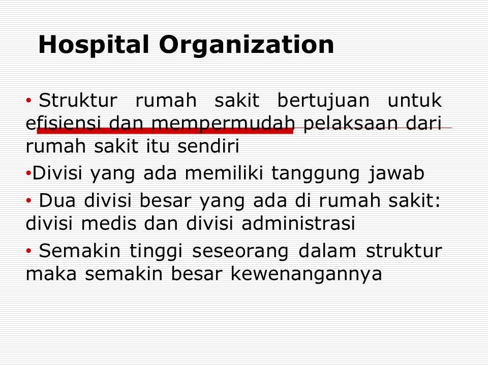 Hospital Organization Struktur rumah sakit bertujuan untuk efisiensi dan mempermudah pelaksaan dari rumah sakit itu sendiri Divisi yang ada memiliki t