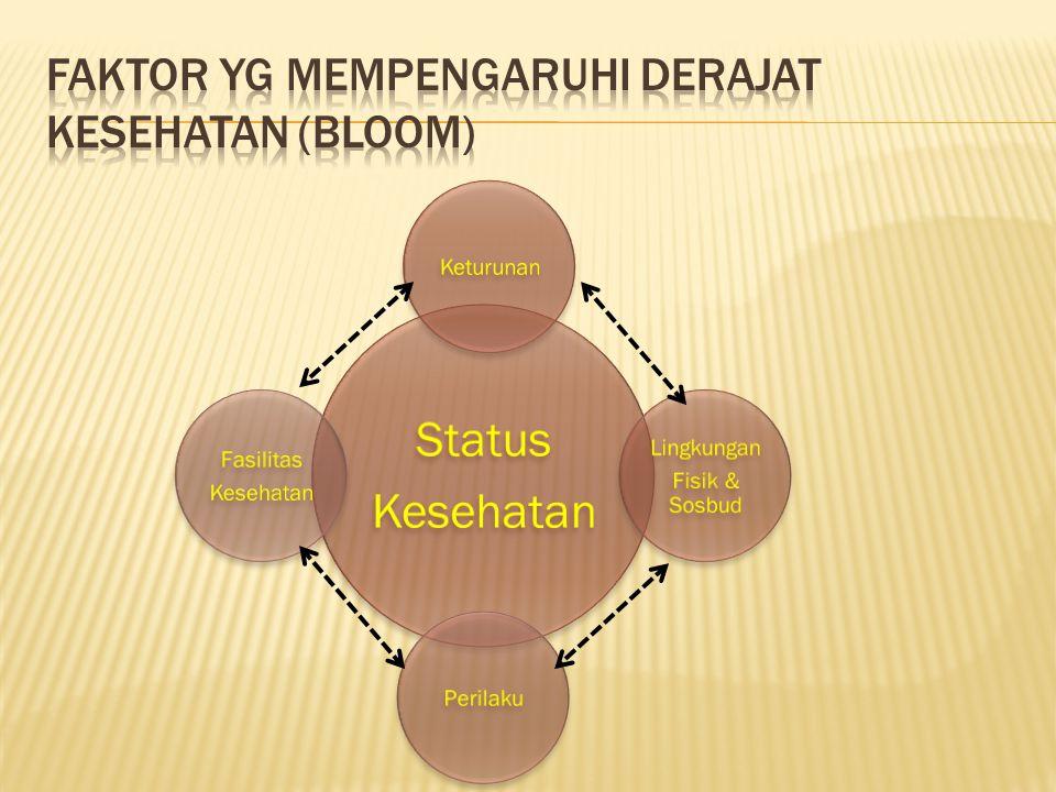 Status Kesehatan Keturunan Lingkungan Fisik & Sosbud Perilaku Fasilitas Kesehatan