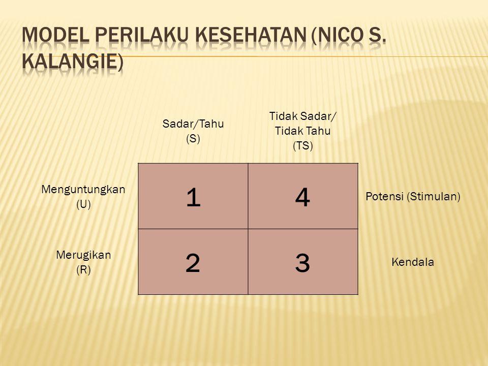 Sadar/Tahu (S) Tidak Sadar/ Tidak Tahu (TS) Menguntungkan (U) 14 Potensi (Stimulan) Merugikan (R) 23 Kendala