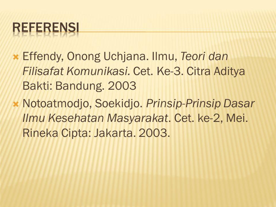  Effendy, Onong Uchjana. Ilmu, Teori dan Filisafat Komunikasi. Cet. Ke-3. Citra Aditya Bakti: Bandung. 2003  Notoatmodjo, Soekidjo. Prinsip-Prinsip
