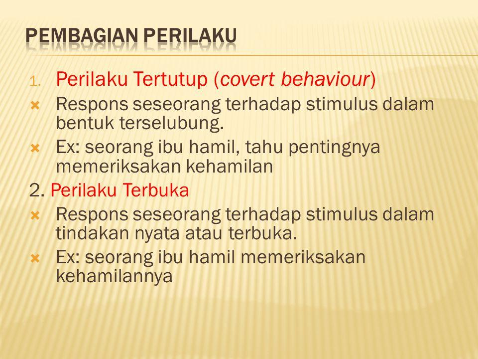 1. Perilaku Tertutup (covert behaviour)  Respons seseorang terhadap stimulus dalam bentuk terselubung.  Ex: seorang ibu hamil, tahu pentingnya memer