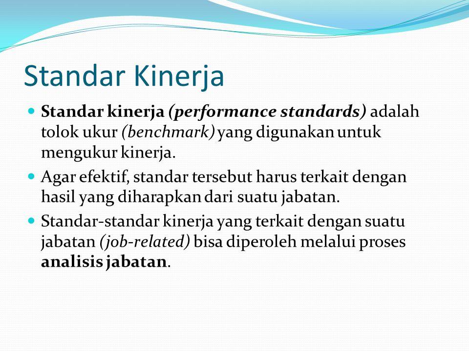 Standar Kinerja Standar kinerja (performance standards) adalah tolok ukur (benchmark) yang digunakan untuk mengukur kinerja. Agar efektif, standar ter