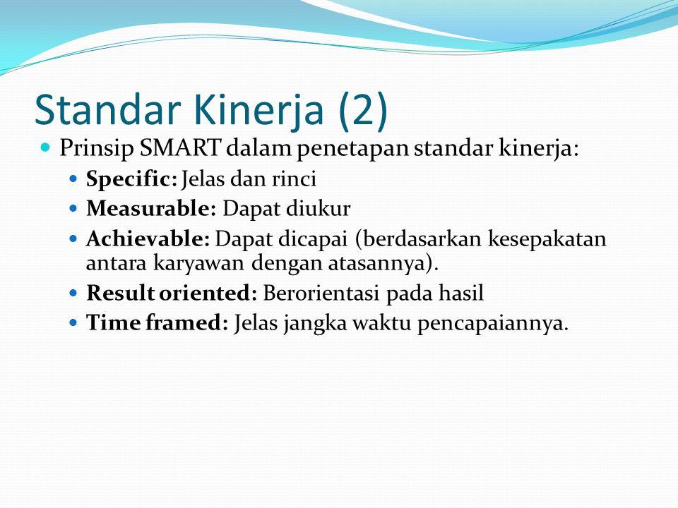 Standar Kinerja (2) Prinsip SMART dalam penetapan standar kinerja: Specific: Jelas dan rinci Measurable: Dapat diukur Achievable: Dapat dicapai (berda