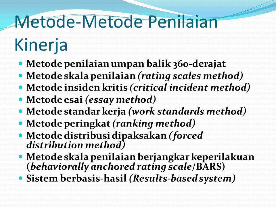 Metode-Metode Penilaian Kinerja Metode penilaian umpan balik 360-derajat Metode skala penilaian (rating scales method) Metode insiden kritis (critical
