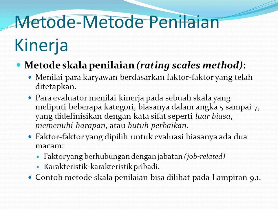 Metode-Metode Penilaian Kinerja Metode skala penilaian (rating scales method): Menilai para karyawan berdasarkan faktor-faktor yang telah ditetapkan.