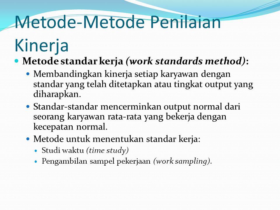 Metode-Metode Penilaian Kinerja Metode standar kerja (work standards method): Membandingkan kinerja setiap karyawan dengan standar yang telah ditetapk