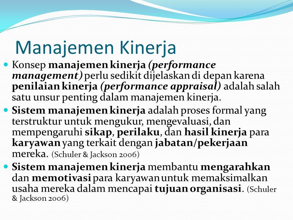 Proses Penilaian Kinerja (Mondy 2008) Mengidentifikasi tujuan-tujuan spesifik penilaian kinerja Menyusun kriteria -kriteria kinerja dan mengkomunikasikannya kepada para karyawan Memeriksa pelaksanaan pekerjaan Menilai kinerja Mendiskusikan hasil penilaian bersama karyawan